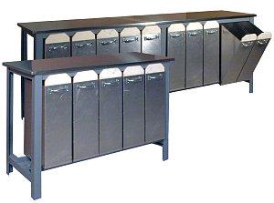 photo of bin system for glazes